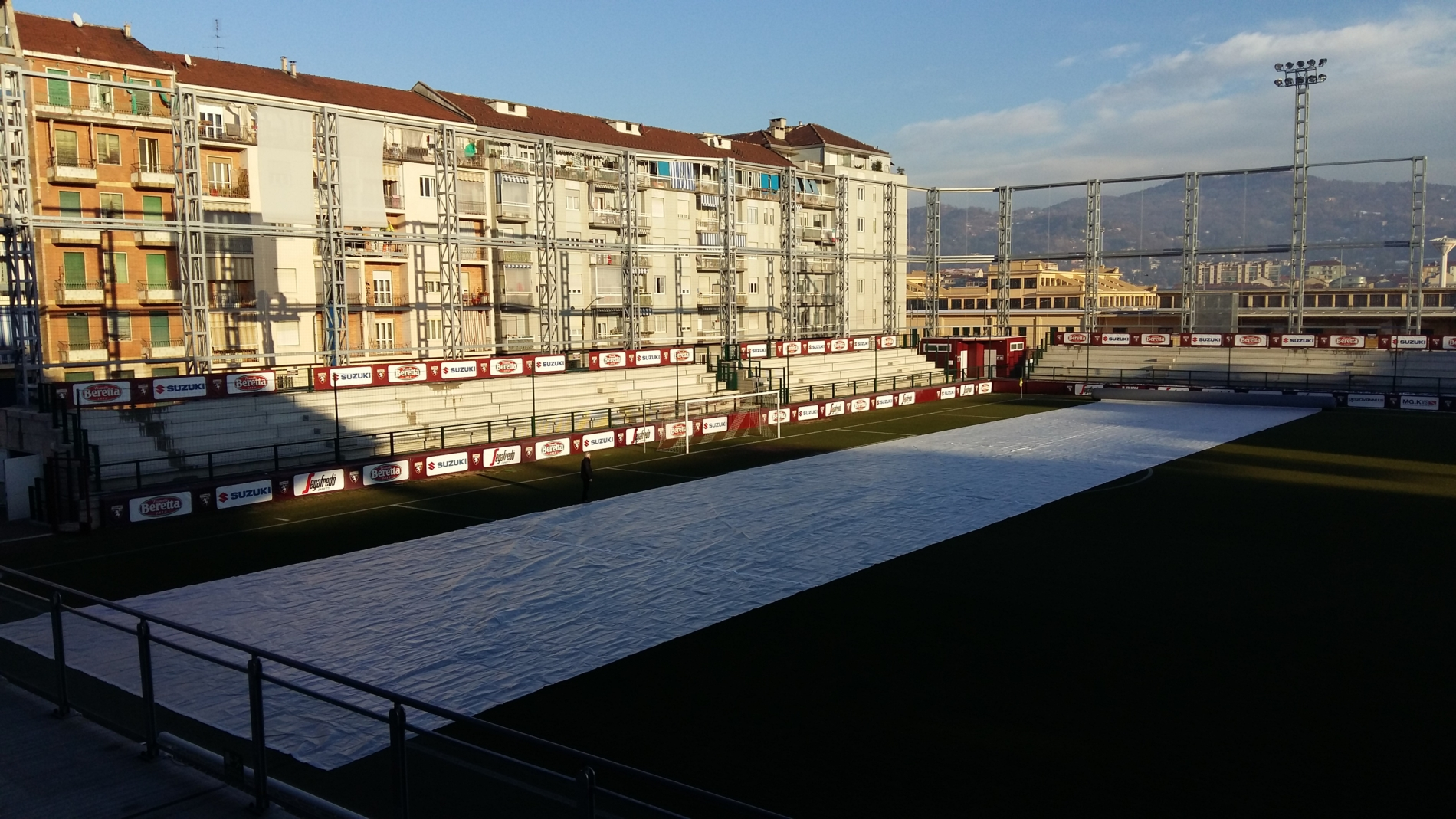 Torino Training ground protected by Matchsaver Air Roller Covers