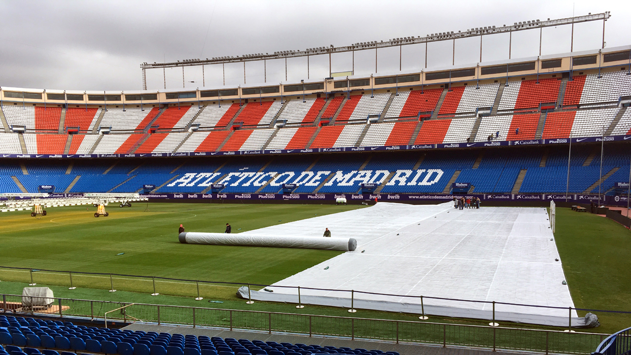 Air roller pitch covers at Atletico Madrid in Spain